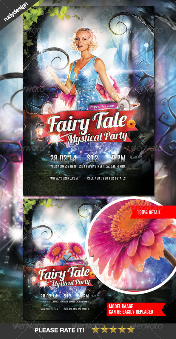 Fairy Tale Fantasy Mystical Party Flyer Design - Clubs & Parties Events