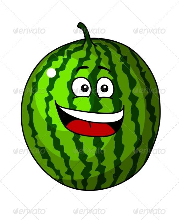 Green Cartoon Watermelon - Food Objects