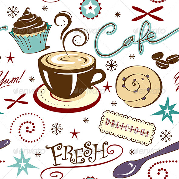 Repeat Pattern: Hot Fresh Coffee Shop and Sweets - Patterns Backgrounds