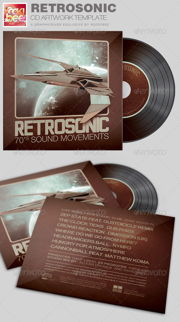 RetroSonic CD Artwork Template - CD & DVD Artwork Print Templates