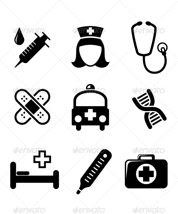 Set of Black and White Medical Icons - Health/Medicine Conceptual