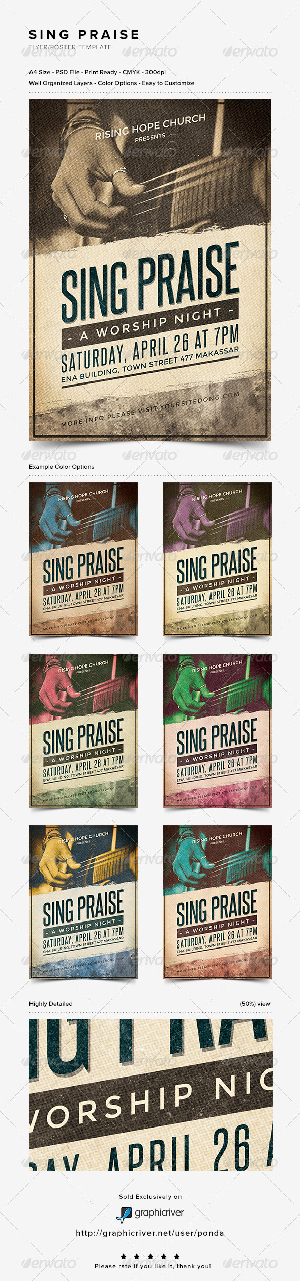 Sing Praise Flyer/Poster Template - Church Flyers