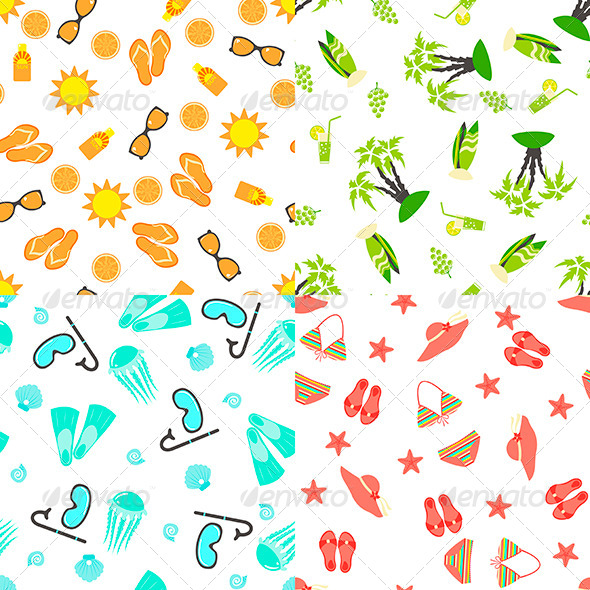 Four Summer Seamless Patterns - Patterns Decorative