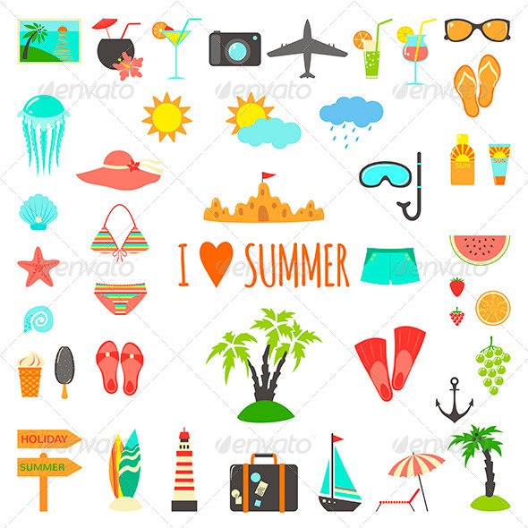 Set of Flat Summer Elements - Decorative Symbols Decorative