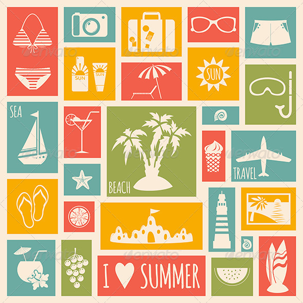 Summer Holiday Card with Flat Elements - Seasons Nature