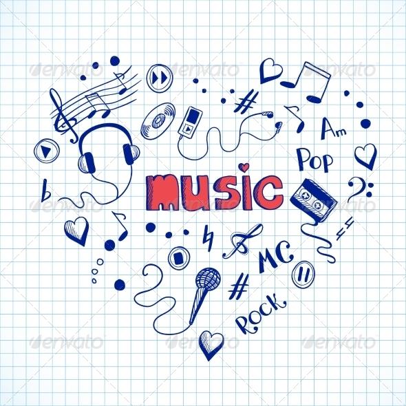 Heart Shaped Music Elements - Decorative Symbols Decorative