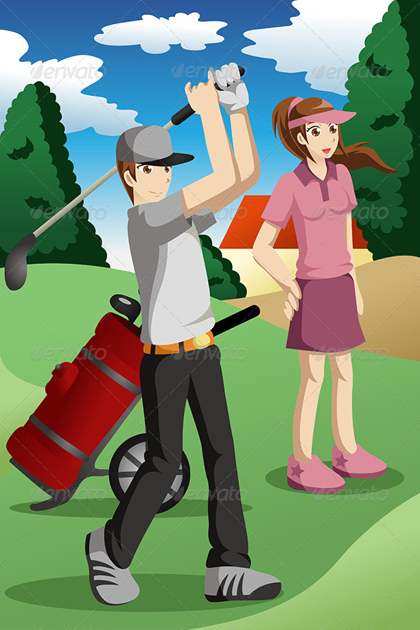 People Playing Golf - Sports/Activity Conceptual