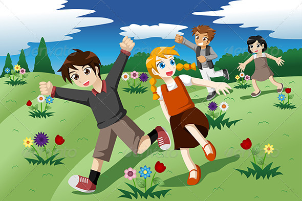 Children Running on the Open Field of Wild Flowers - People Characters