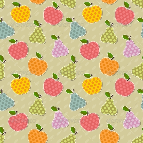 Seamless Colorful Apple and Pear Pattern - Flowers & Plants Nature