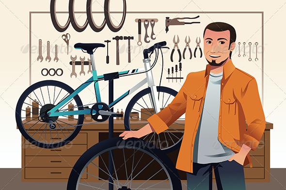 Bicycle Store Owner in his Bike Repair Shop - People Characters