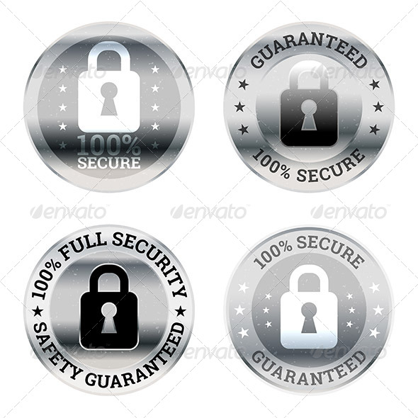Security Guarantee Label Icons - Decorative Symbols Decorative