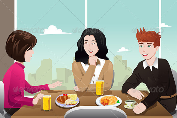 Business People Eating Together - Business Conceptual