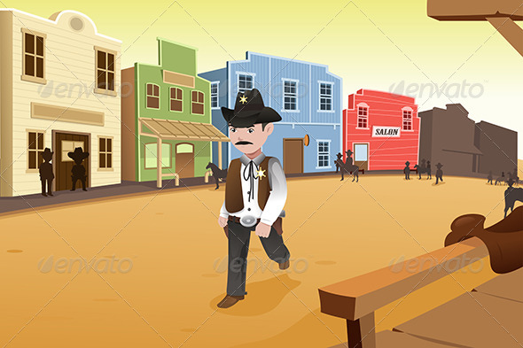 Sheriff Walking on an Old Western Town - People Characters