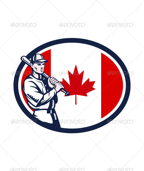 Canadian Baseball Batter Canada Flag Retro - Sports/Activity Conceptual