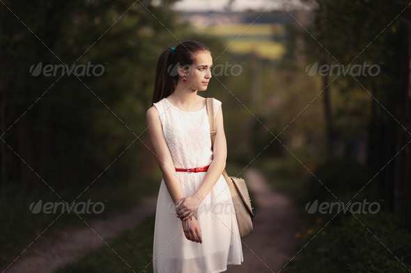 young beautiful girl with long hair - Stock Photo - Images