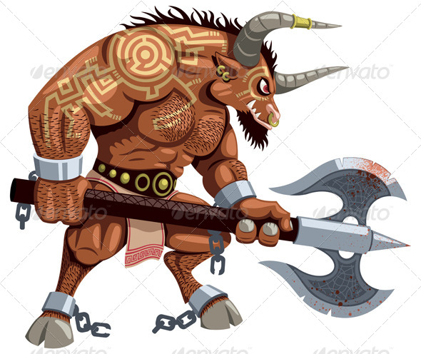 Minotaur on White - Monsters Characters