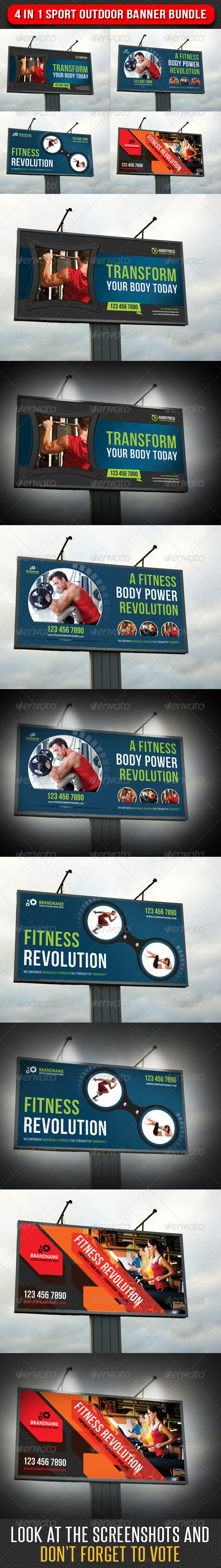 4 in 1 Sport Outdoor Banner Bundle 02 - Signage Print Templates