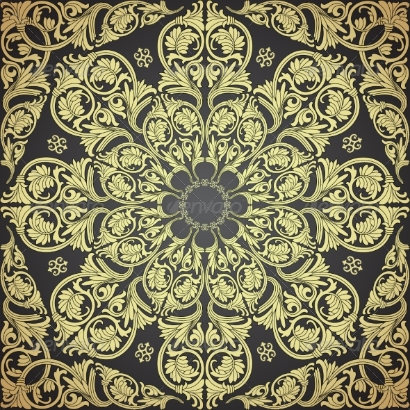 Damask Seamless With Baroque Ornaments. - Patterns Decorative