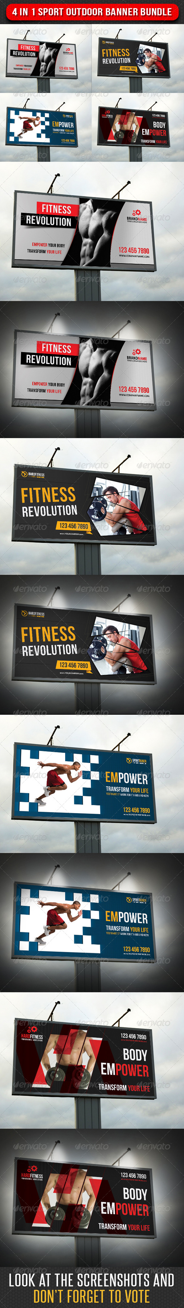 4 in 1 Sport Outdoor Banner Bundle 03 - Signage Print Templates