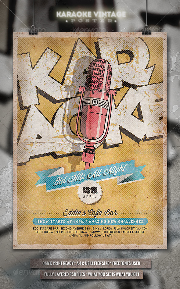 Karaoke Vintage Poster / Flyer - Clubs & Parties Events