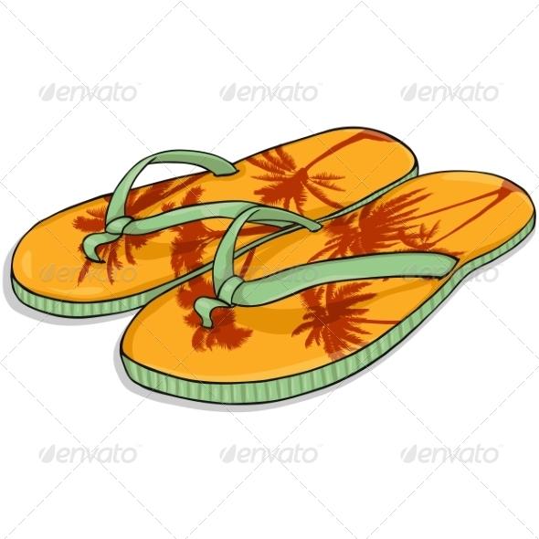 Vector Cartoon Orange Beach Slippers - Man-made Objects Objects