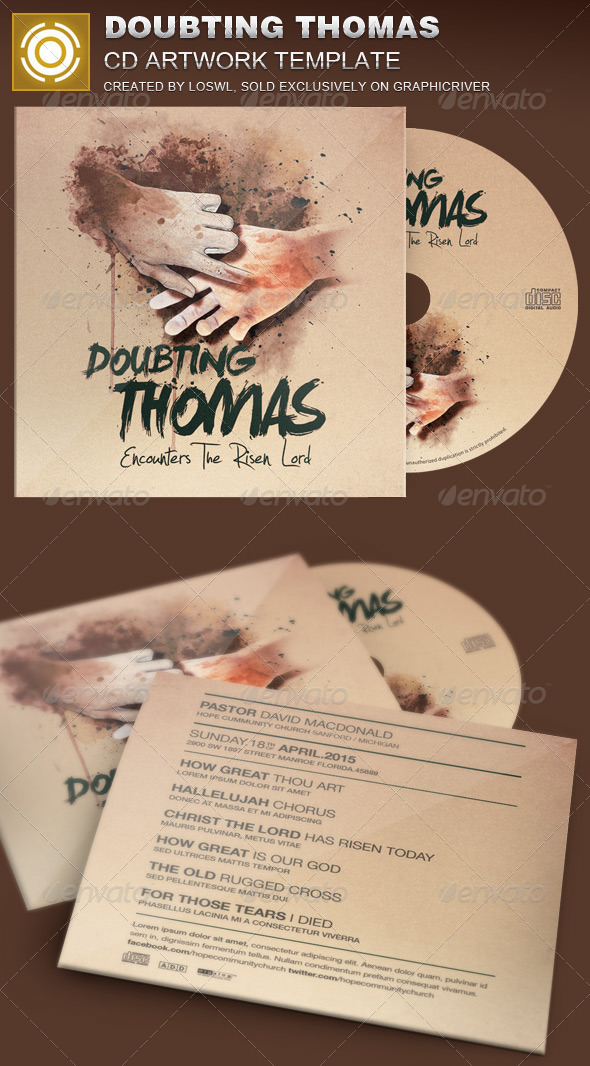 Doubting Thomas CD Artwork Template - CD & DVD Artwork Print Templates