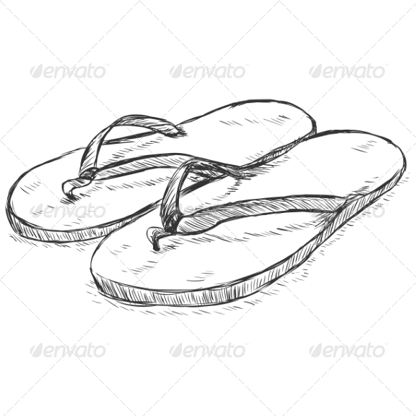 Vector Sketch Slippers - Man-made Objects Objects