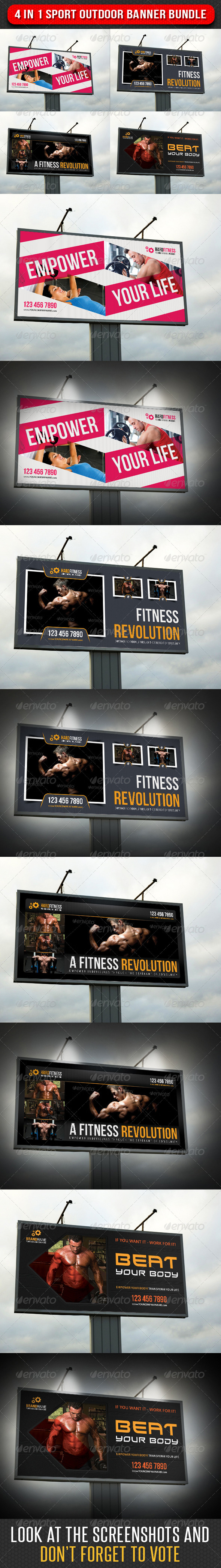 4 in 1 Sport Outdoor Banner Bundle 04 - Signage Print Templates
