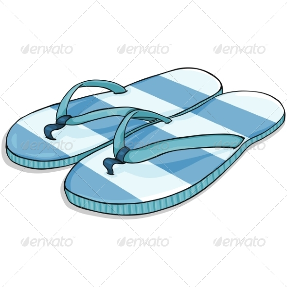 Vector Cartoon Blue Stripped Beach Slippers - Man-made Objects Objects