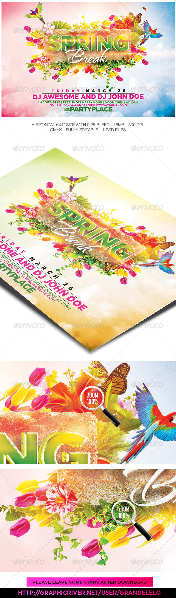 The Spring Break Flyer Template  - Events Flyers