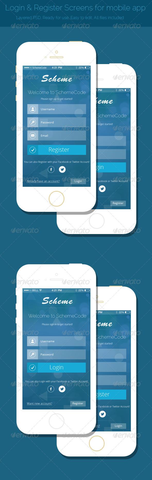 Login & Register Screens for Mobile App - User Interfaces Web Elements
