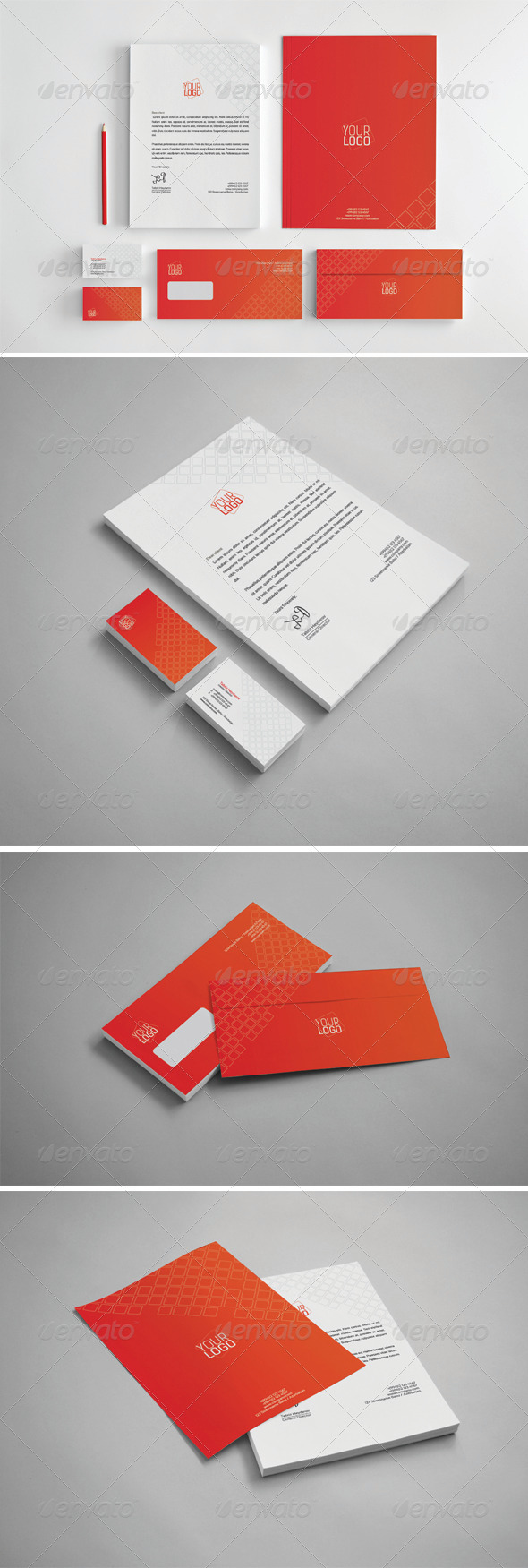 Red Cubes Stationery - Stationery Print Templates
