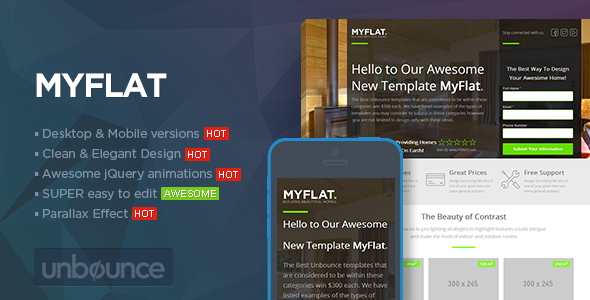MYFLAT - Real Estate Unbounce Template - Unbounce Landing Pages Marketing