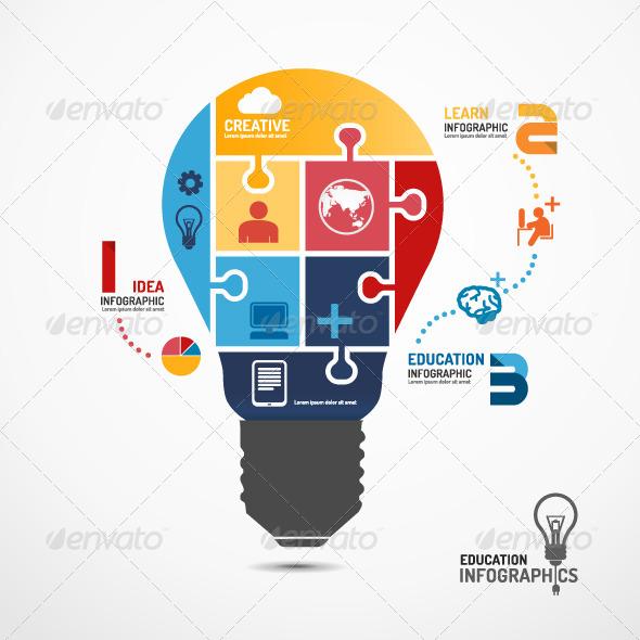 Infographic Template Light Bulb Jigsaw Banner - Infographics