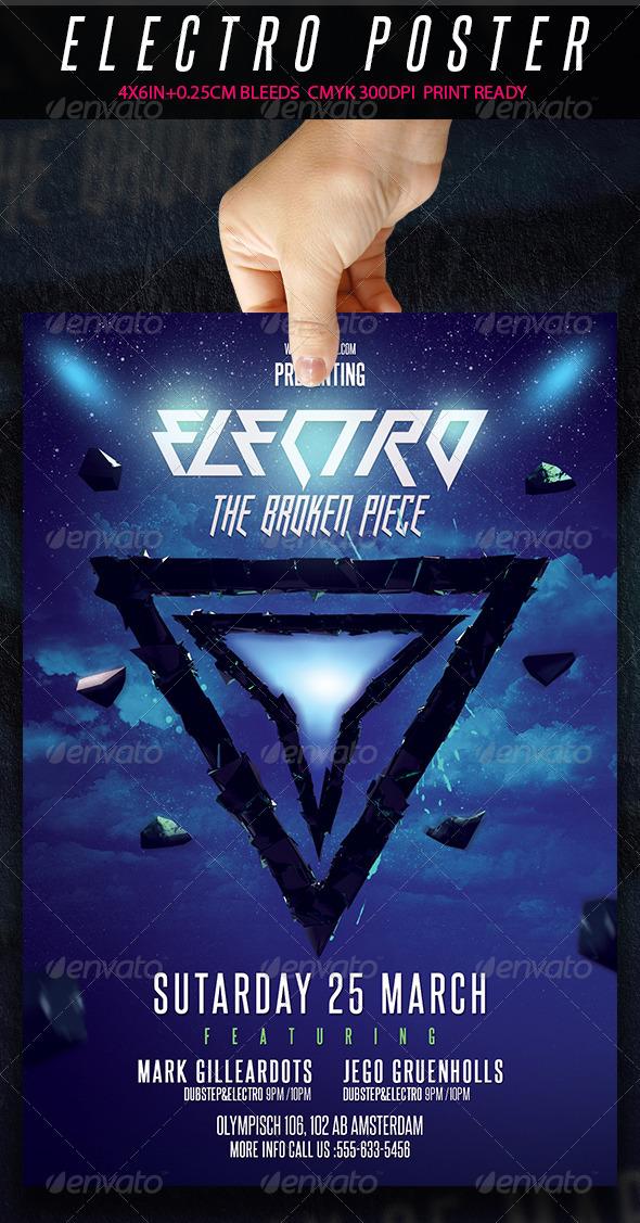 Electro Flyer - The Broken Piece - Clubs & Parties Events