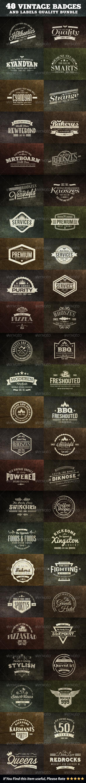 48 Vintage Badges and Labels Bundle - Badges & Stickers Web Elements