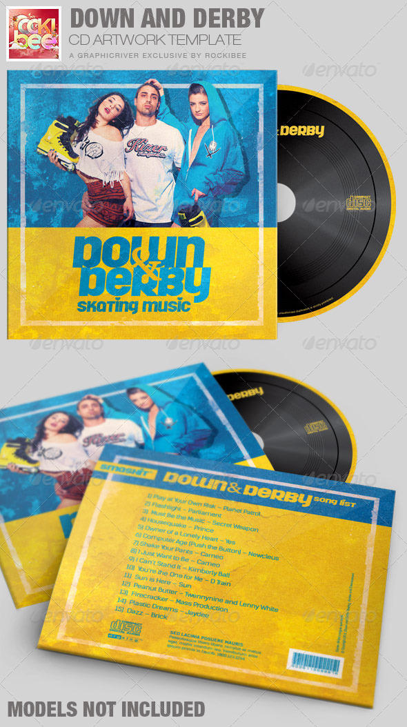 Down and Derby Skating CD Artwork Template - CD & DVD Artwork Print Templates