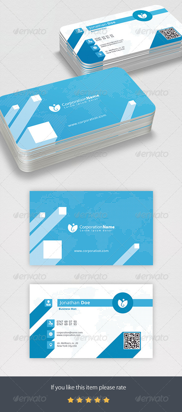 Corporation Business Card - Business Cards Print Templates