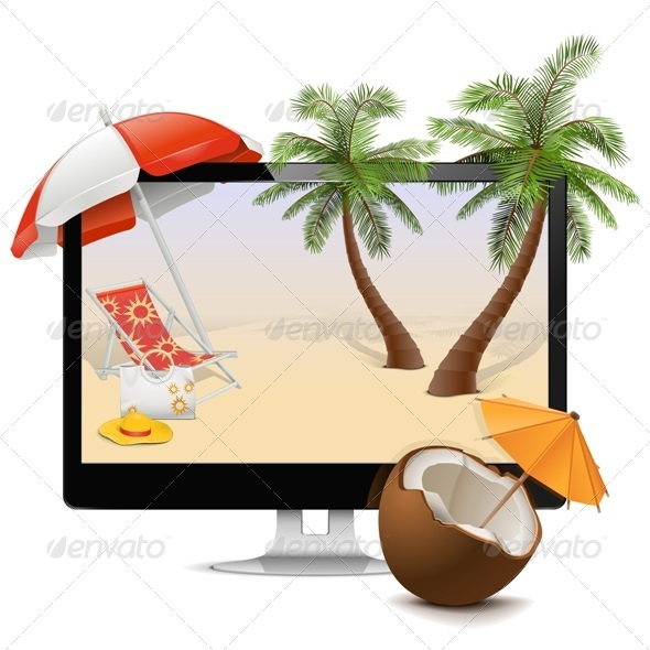 Computer with Tropical Resort - Travel Conceptual