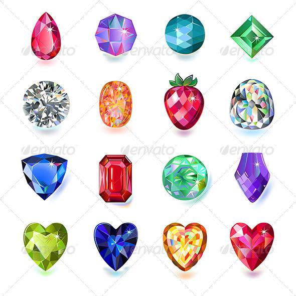Colored Gems - Decorative Symbols Decorative