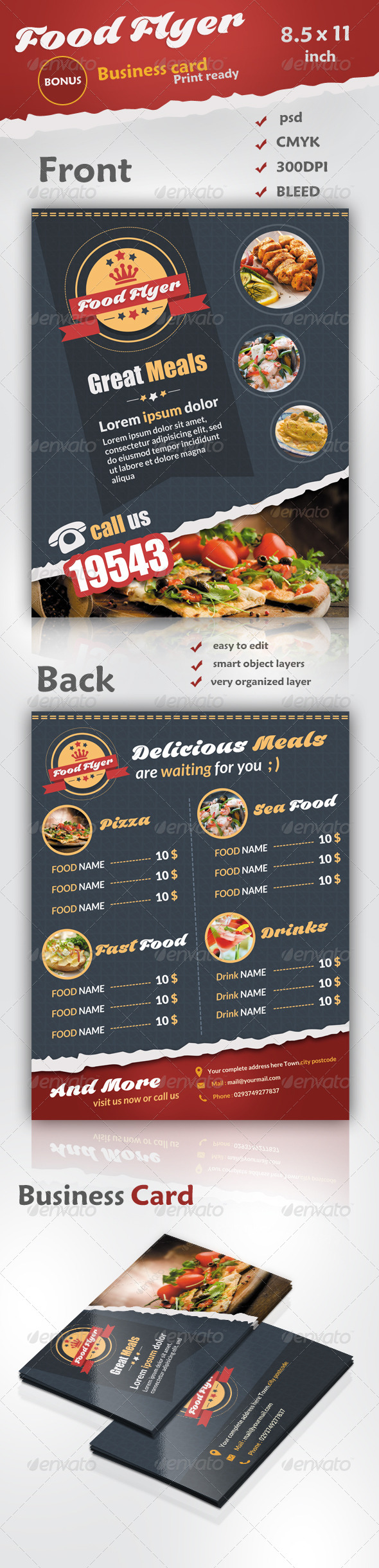 Food Flyer - Business Card - Restaurant Flyers