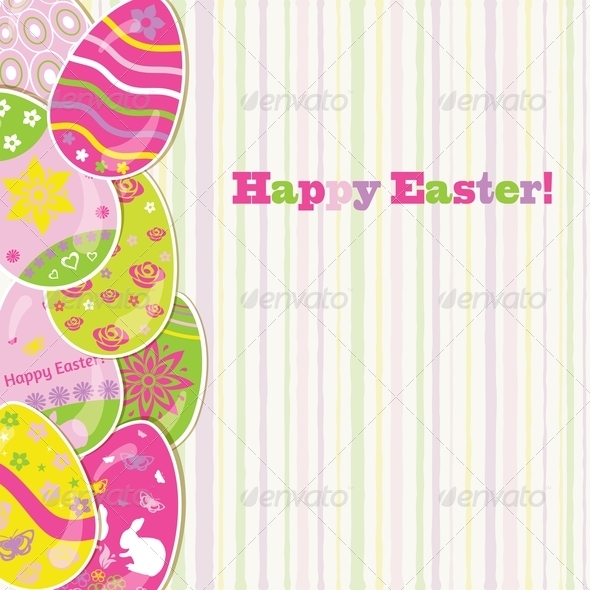 Easter Background with Paper Eggs - Miscellaneous Seasons/Holidays