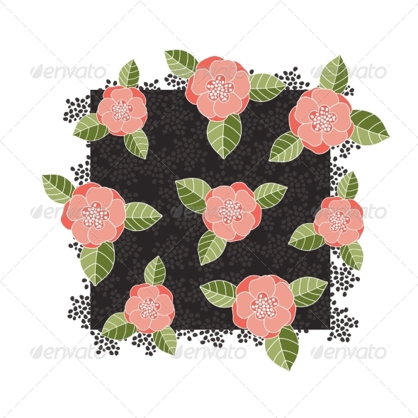 Pink Roses on a Dark Square - Flowers & Plants Nature