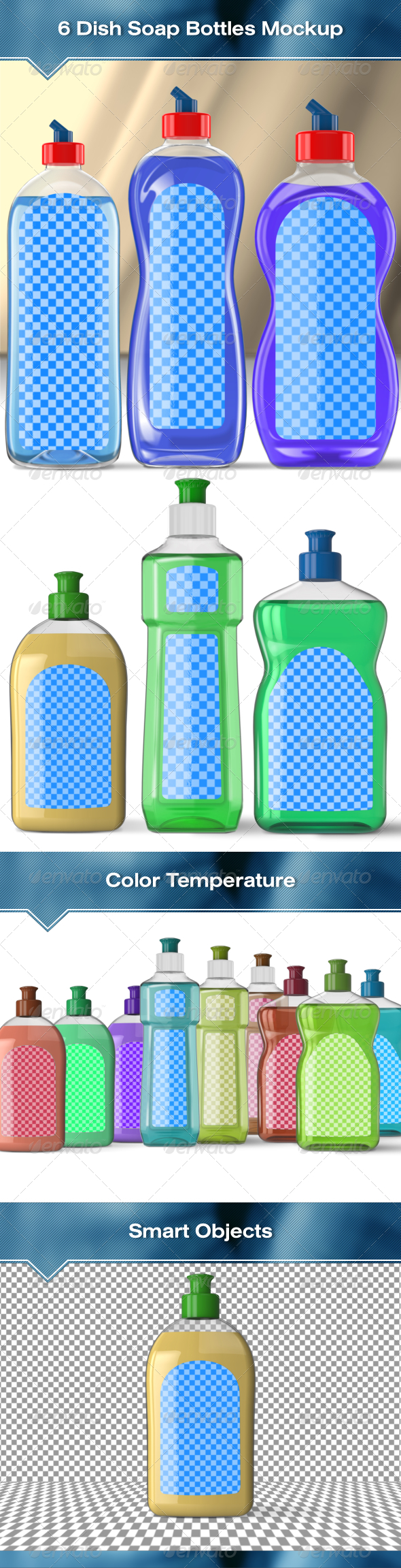 6 Dish Soap Bottles Mock-Up - Packaging Product Mock-Ups