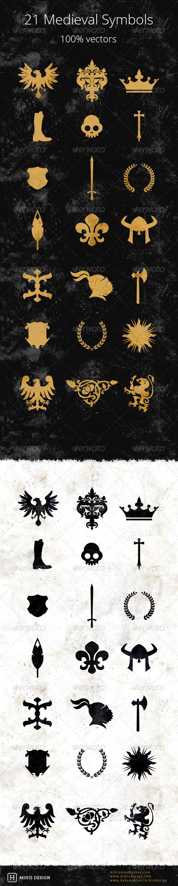 21 Medieval Symbols - Vectors