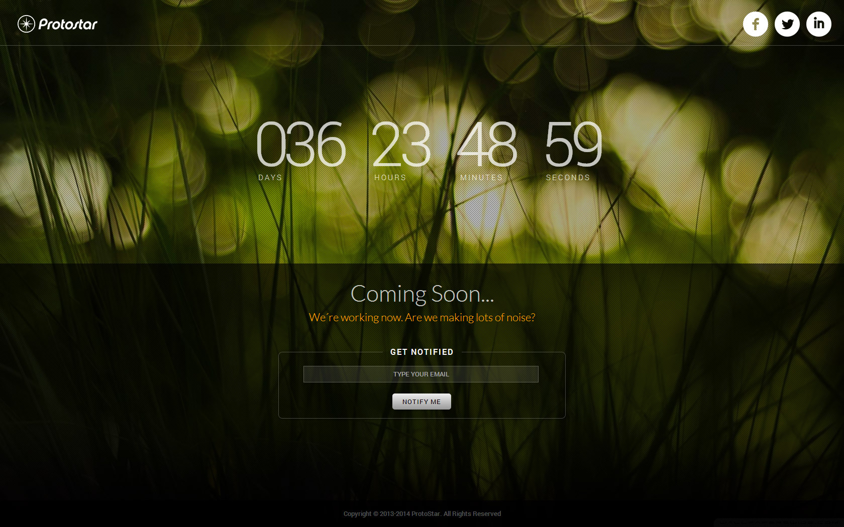 Protostar Coming Soon Countdown Fullscreen Page By Retrostar