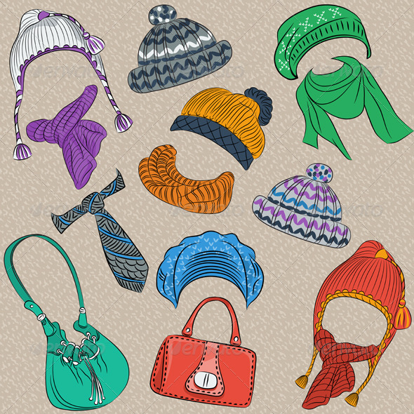Hipster Winter Knitted Hats Set - Objects Vectors