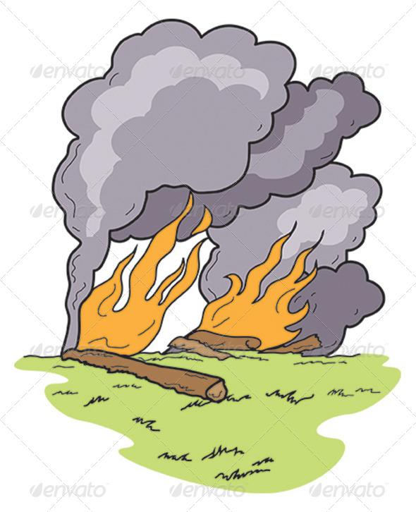 Art Wild Fire Heavy Black Smoke Burning Log - Landscapes Nature