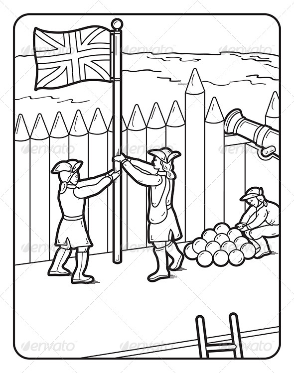 Art Coloring Book Page Fort Flag Cannon - Miscellaneous Vectors