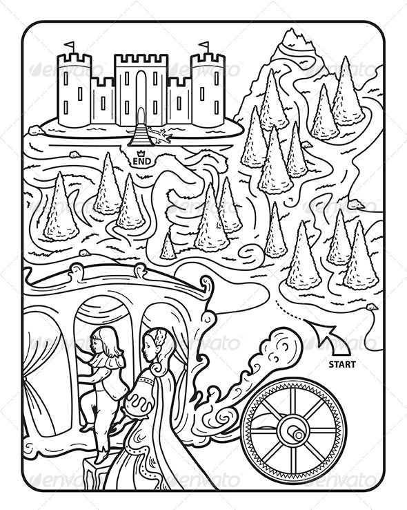 Coloring Book Page, Maze, Princess Augusta - People Characters